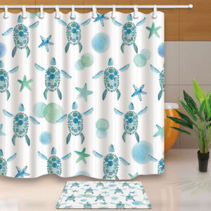 Perfect Image Is Loading Sea Turtle And Starfish Shower Curtain Bathroom Decor