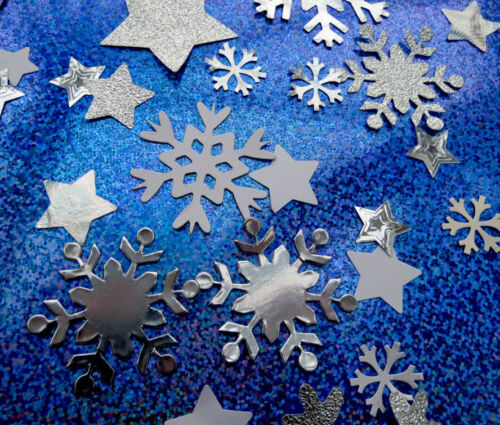 Value!! Snowflakes and Stars die cuts.White and Silver.Over 200 pieces per pack