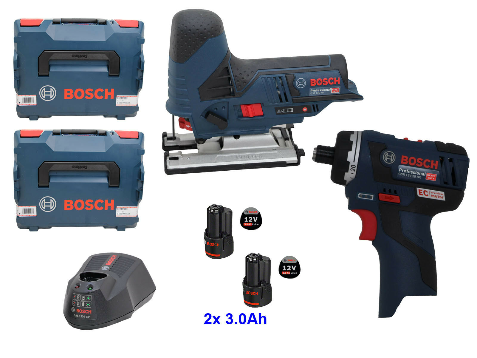 Bosch Akku Schrauber GSR 12V-20 HX + Akku Stichsäge GST 12V-70 + Tasche + 2x3.0