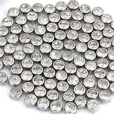 100 BORCHIE PIRAMIDE ROTONDO STRASS 7mm PER SCARPE CINTURA