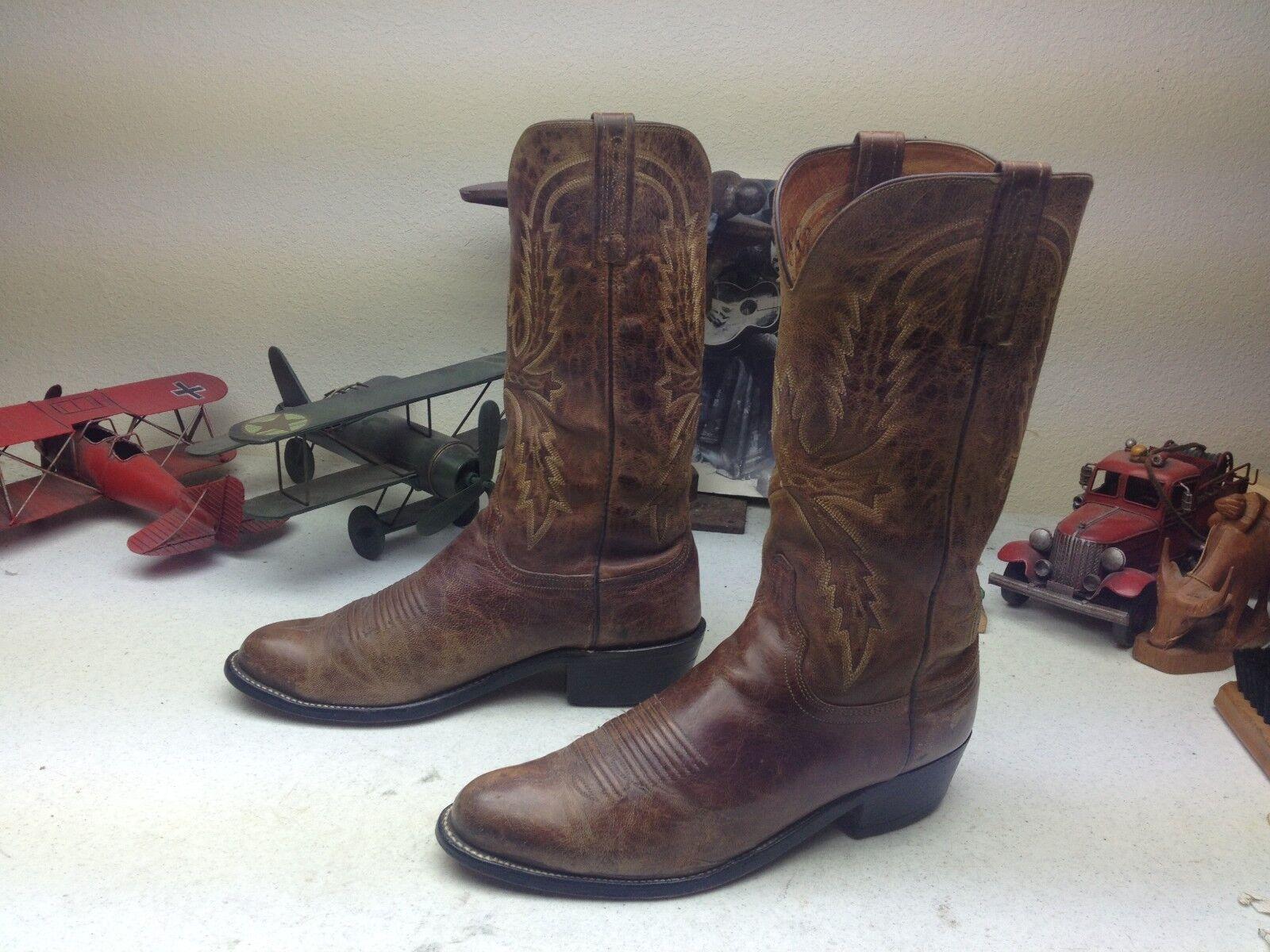 Ingeniero occidental de cuero marrón envejecido LUCCHESE Trail Boss botas de vaquero 8.5EE