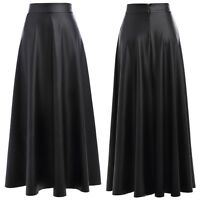 Womens Black High Waisted Party Clubwear Dress PU Leather Punk A-Line Maxi Skirt