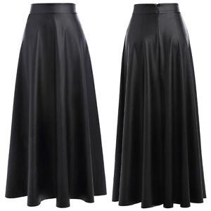 femmes-taille-haute-effet-mouille-synthetique-cuir-plisse-evase-Ligne-A-jupe
