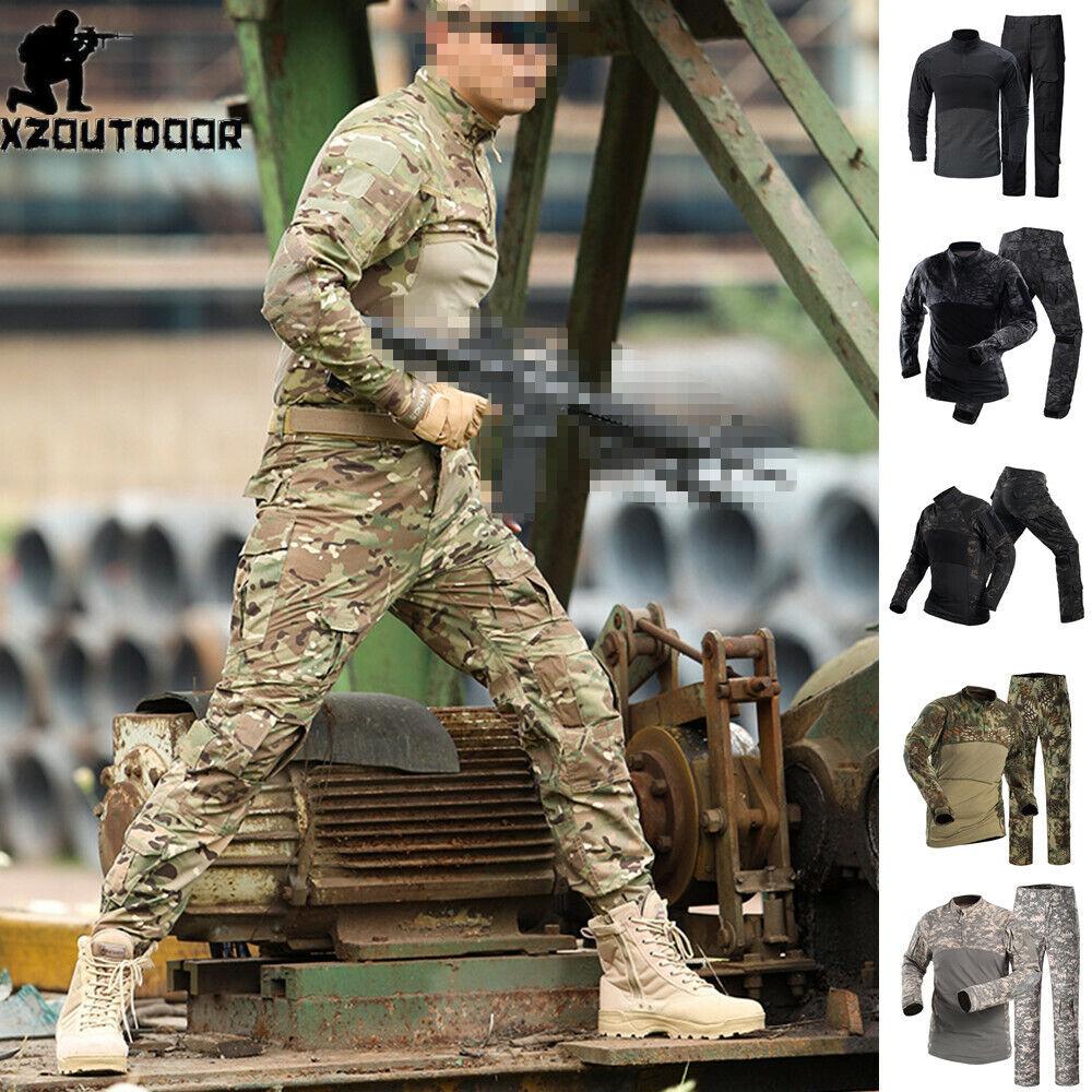 Army Men's Tactical Military T-shirt Pants Combat BDU Uniform Camouflage Casual