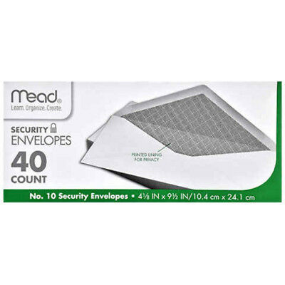 6 3//4 No Mead Security Envelopes with Printed Lining for Privacy 80//Box