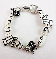 Music bracelet silver piano keyboard notes staff clef treble magnetic clasp