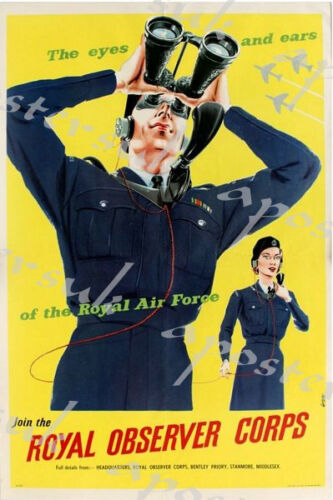World War Two Royal Observor Corps Recruitment Poster A3//A4 Print