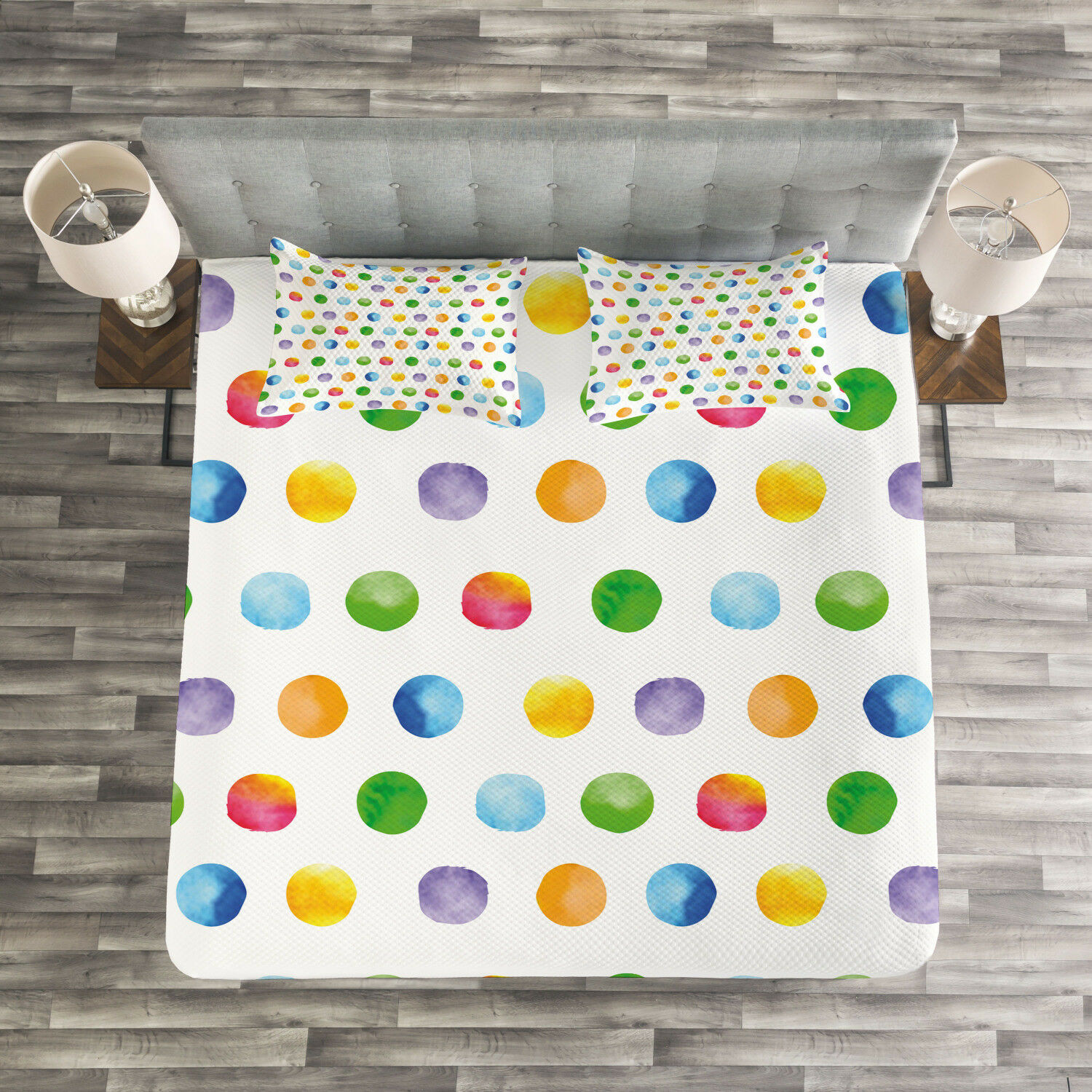 Watercolor Quilted Bedspread & Pillow Shams Set, Abstract Polka Dots Print