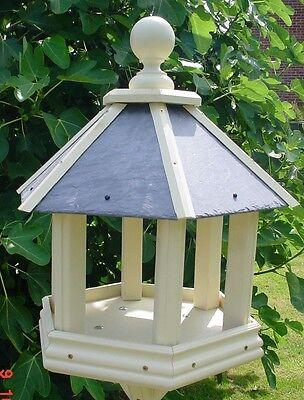 New Large Wooden Hexagonal Bird Feeder Table Feeding