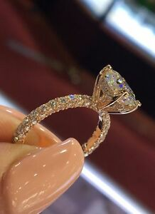 2.0Ct Oval Cut Diamond Solitaire Engagement Ring In 10K Rose Gold Finish