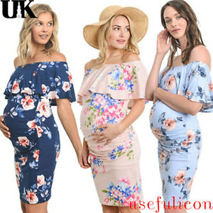 ad76b72fdec Image is loading Pregnant-Womens-Summer-Maternity-Dress-Casual-Ruffle-Off-