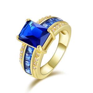 Men Women Size 7,8,9,10,11 Engagement Blue Sapphire 10KT Gold Filled Ring Gift