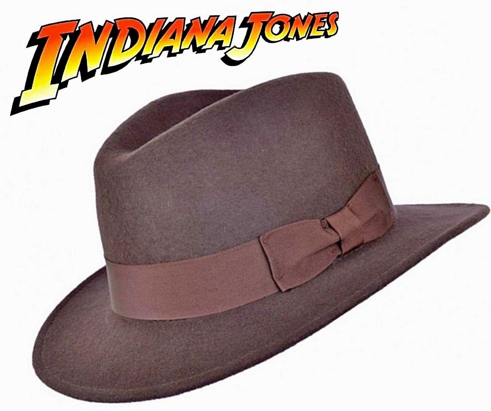 Indiana Jones Style 100% Wool Felt Fedora Brown Hat knautschfähig Water Repellent