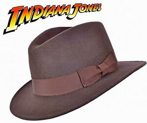 f46a7cafe5b Indiana Jones Style 100% Wool Felt Fedora Brown Hat Crushable Water ...