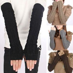 seleziona per genuino autentico varietà larghe Dettagli su guanti lunghi MANICOTTI SENZA DITA nero grigio marrone chiaro  marrone scuro