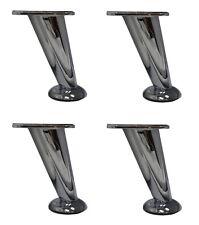 5 Furniture Legs Slanted Metal Chrome Set Of 4 For Sale Online Ebay