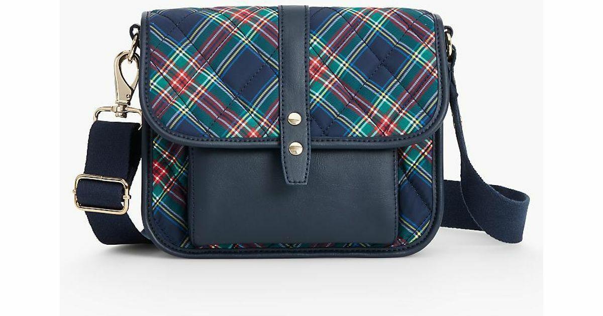 Talbots Navy Blue Plaid Tartan Nylon Quilted Crossbody Bag
