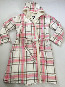 Boden Womens S Pink White Plaid Sherpa Lined Hooded Robe Coverup Bathrobe