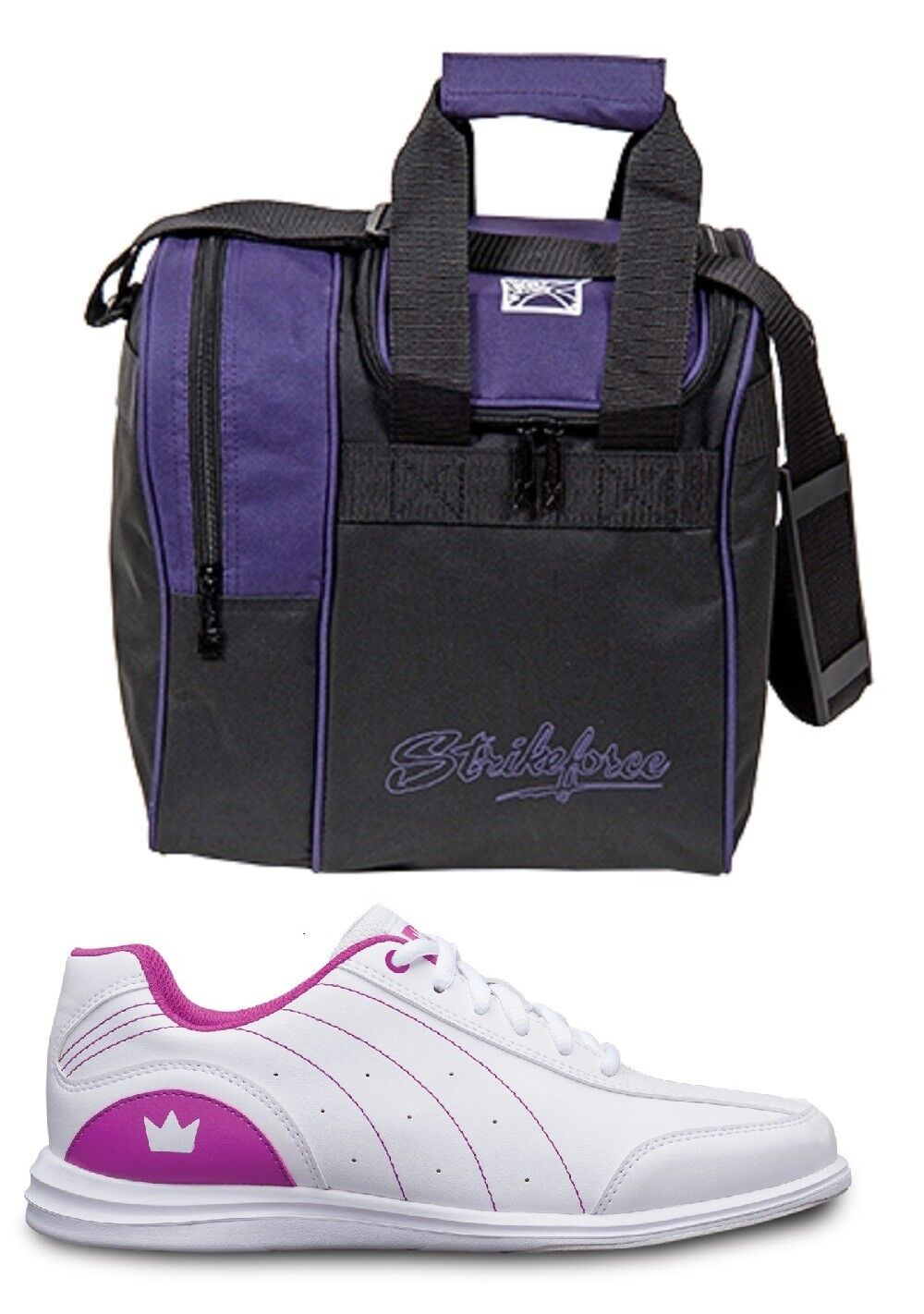 Womens MYSTIC Bowling Ball shoes White Fuchsia Sizes 5-11 & Purple 1 Ball Bag