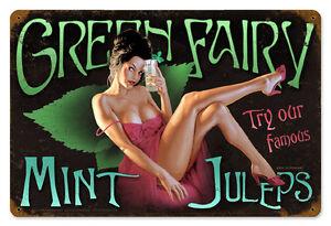 Mint-Julep-Hildebrandt-Vintage-Metal-Sign-Pinup-Art-Sexy-SIGNED-FREE-PRINT