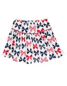 GYMBOREE-FOURTH-OF-JULY-RED-WHITE-amp-BLUE-BOWS-KNIT-SKORT-4-5-6-8-NWT