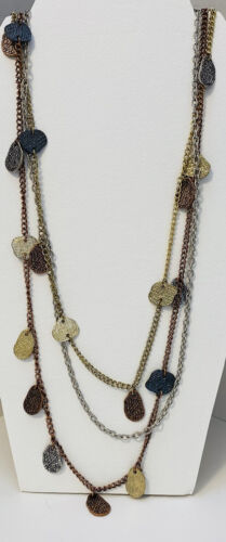 "26"" Multi Strand Multi Color Metal Necklace"