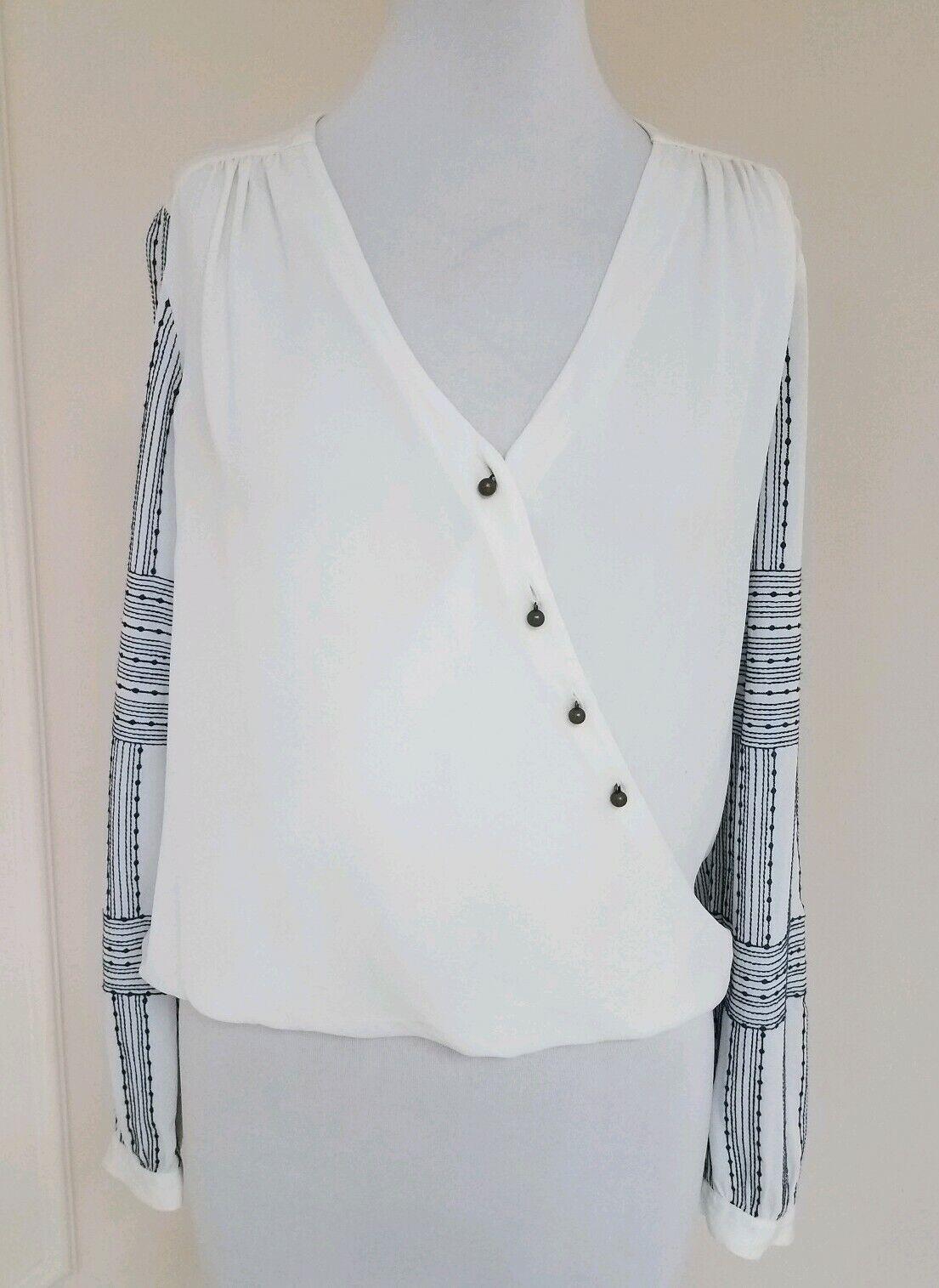 Veronica Beard Blouse Cream Embroidered Sleeve Silk Size  Bohemian Surplice Top