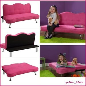 Image Is Loading Pink Sofa Kids Girls Futon Sleeper Couch Lounge