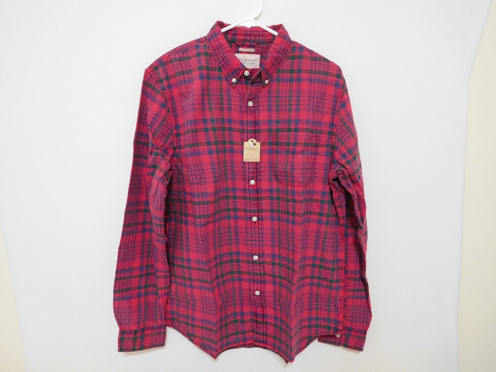 Ralph Lauren Men ROT Plaid Cotton Oxford Shirt -  Large L NEW