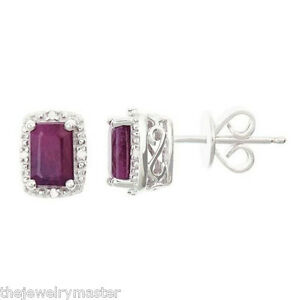 Image Is Loading 1 32 Carat Ruby Diamond Halo Stud Earrings