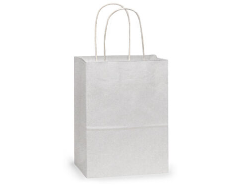 "Cub 8x5x10/"" 100 CT RECYCLED WHITE Kraft paper shopping bags"