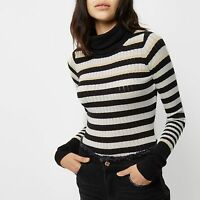 River Island New Black White Gold Roll Neck Ribbed Sweater Top Jumper Size 6
