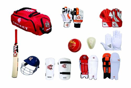 Hi Tech Cricket Kit All Red Complete Sports Tool Equipment Set Club//College Pack