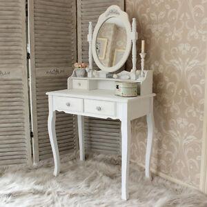 Tavolo da toeletta in legno bianco serie Specchio Shabby Chic ...