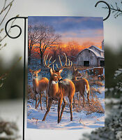 Toland - Deer Glory - Winter Snow Buck Farm Country Outdoors Garden Flag