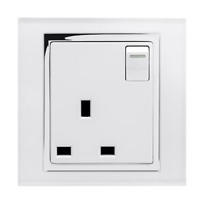 Details About Retrotouch 1 Gang Single Switched 13a Plug Socket White Glass Ct 00164