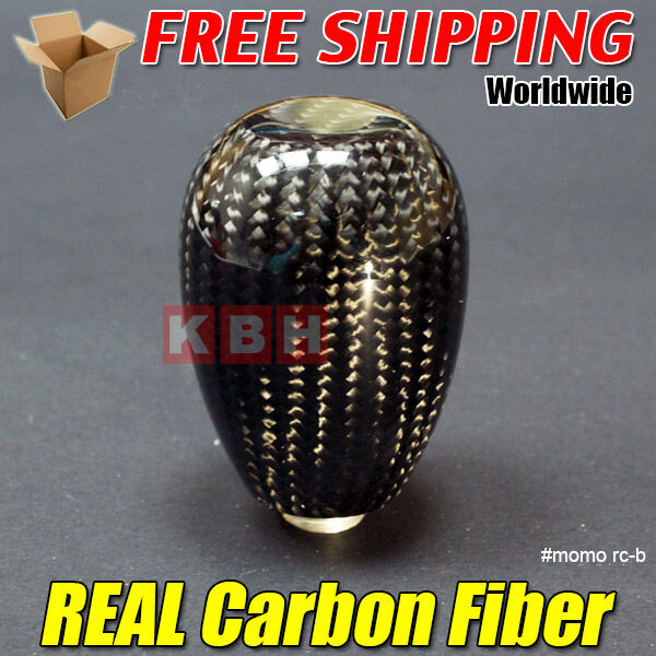 Genuine Carbon Fibre Manual Gear Stick Shift Shifter Knob Black Universal rcb
