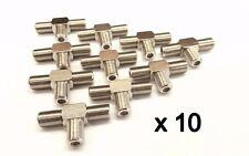 F Type T Junction Connector twist on Y Splitter Coaxial Female Socket x10