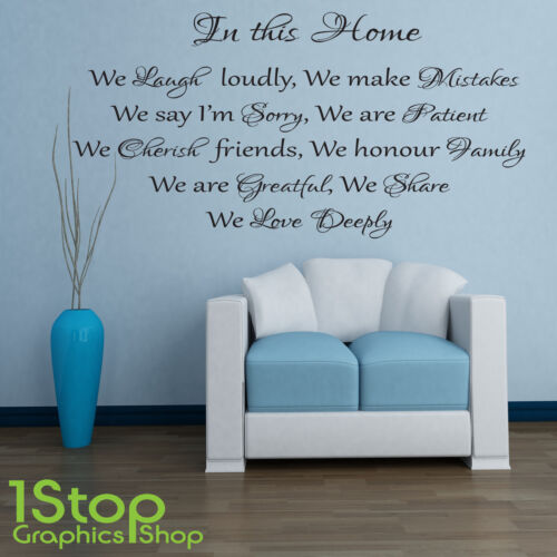 HOUSE RULES WALL STICKER QUOTE FAMILY LOVE BEDROOM LOUNGE WALL ART DECAL X101
