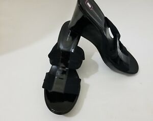 New Without Box Bandolino Black Open Toe Wedge Women s Shoes Size ... fec531690351