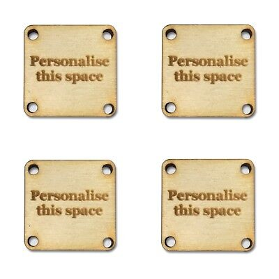 Personalise this space Walnut SQUARE Tags 15mm x 15mm Wooden Handmade Clothing