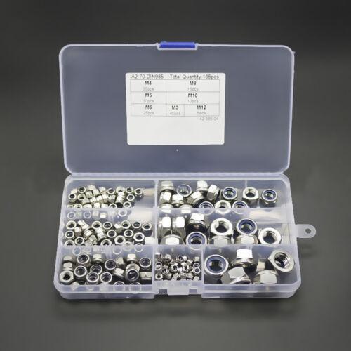 LK /_ zB /_ 165 Teile Edelstahl Nylon-Einsatz Sicherungsmutter Sortiment Set M3
