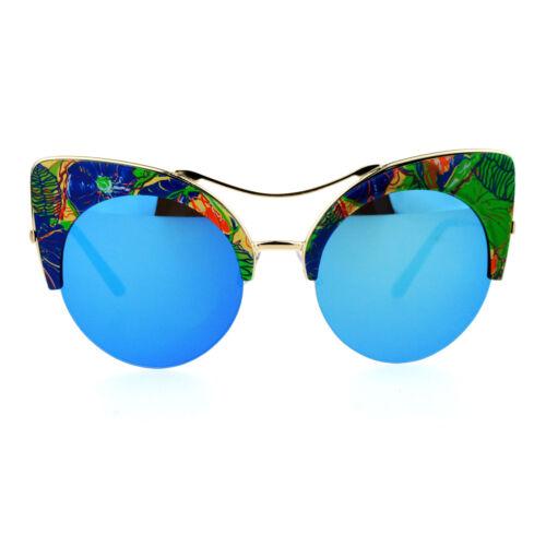 Womens Sunglasses Oversized Half Rim Round Cateye Floral Top Mirror Lens