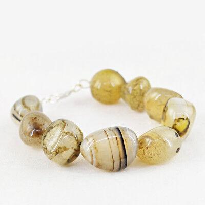 RS Amazing 518.50 Cts Earth Mined Orange Onyx Untreated Genuine Beads Bracelet