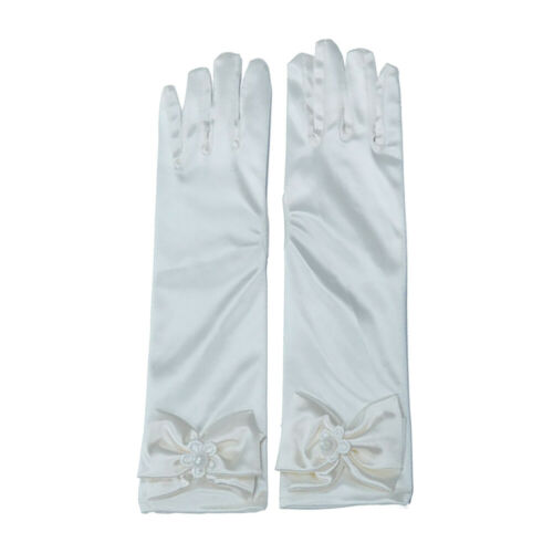 Kids Long Gloves Bowknot Girls Prom Wedding Party Satin Costume Princess Sleeves