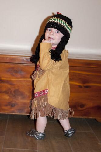 Indian Girl Crochet Hat Wig Infant Toddler Adult Thanksgiving Photo Prop