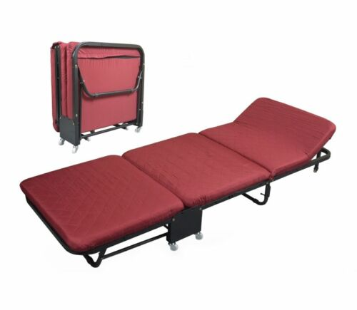 Folding Bed Rollaway Guest Bed Steel Frame With Foam Mattress With