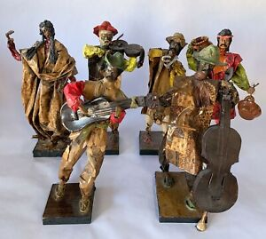 6-LOT-Mexican-Paper-Mache-Folk-Art-Hand-Made-Figures-Collectable-Art-14-034-High