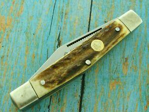 VINTAGE-PUMA-USA-HANDMADE-410675-STAG-FOLDING-STOCK-STOCKMAN-POCKET-KNIFE-KNIVES