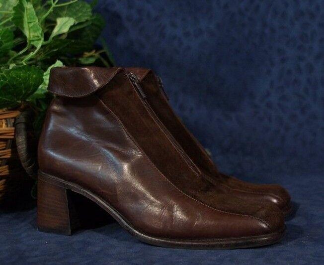 Brown Suede & Leather SHAW LAVORAZIONE Front ARTIGIANA  Cuffed Zip Front LAVORAZIONE Boots Sz 7.5 2b0b3f